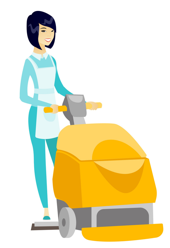 Asian female worker cleaning store floor with machine. Young woman using cleaning machine to clean floor in supermarket. Cleaning service. Vector flat design illustration isolated on white background.