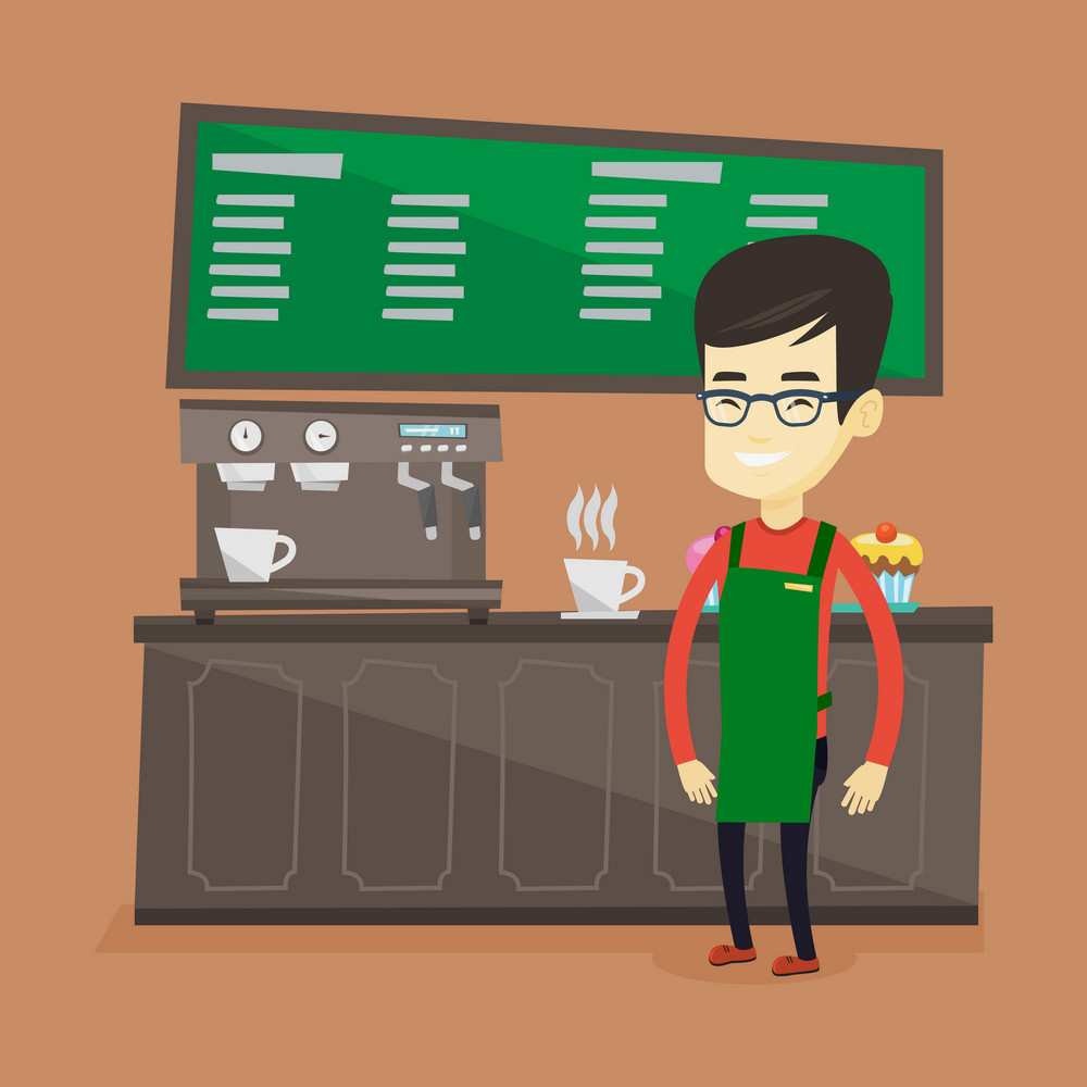 Asian friendly barista standing in front of coffee machine. Young barista at work in coffee shop. Barista making a cup of coffee. Vector flat design illustration. Square layout.