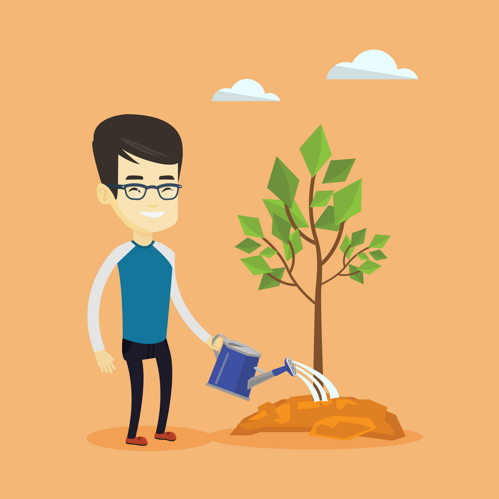 Asian friendly man watering tree. Smiling male gardener with watering can. Young man gardening. Concept of environmental protection. Vector flat design illustration. Square layout.