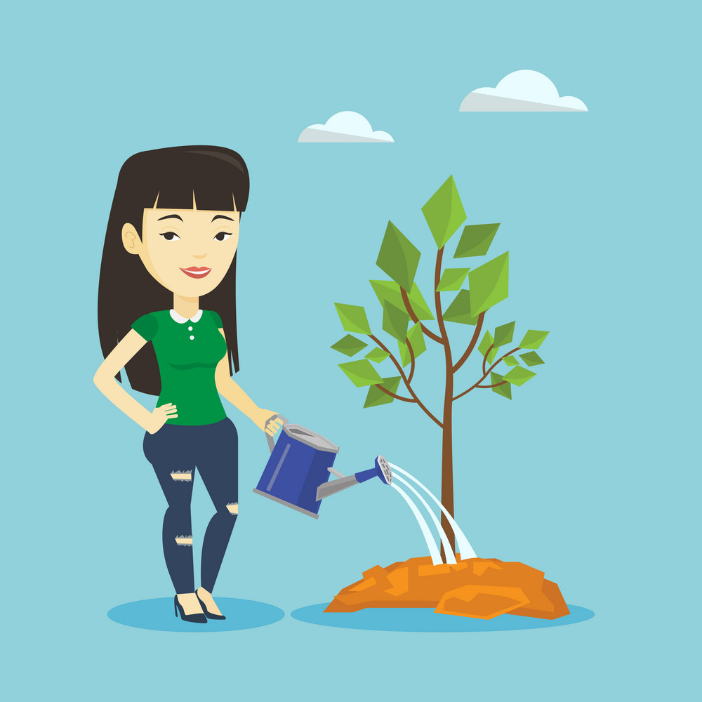 Asian friendly woman watering tree. Smiling female gardener with watering can. Young woman gardening. Concept of environmental protection. Vector flat design illustration. Square layout.
