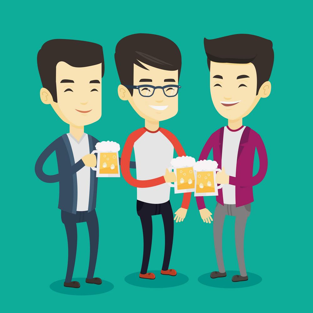 Asian friends clanging glasses of beer. Men toasting and clinking glasses of beer. Group of friends enjoying a beer at pub. Men drinking beer. Vector flat design illustration. Square layout.