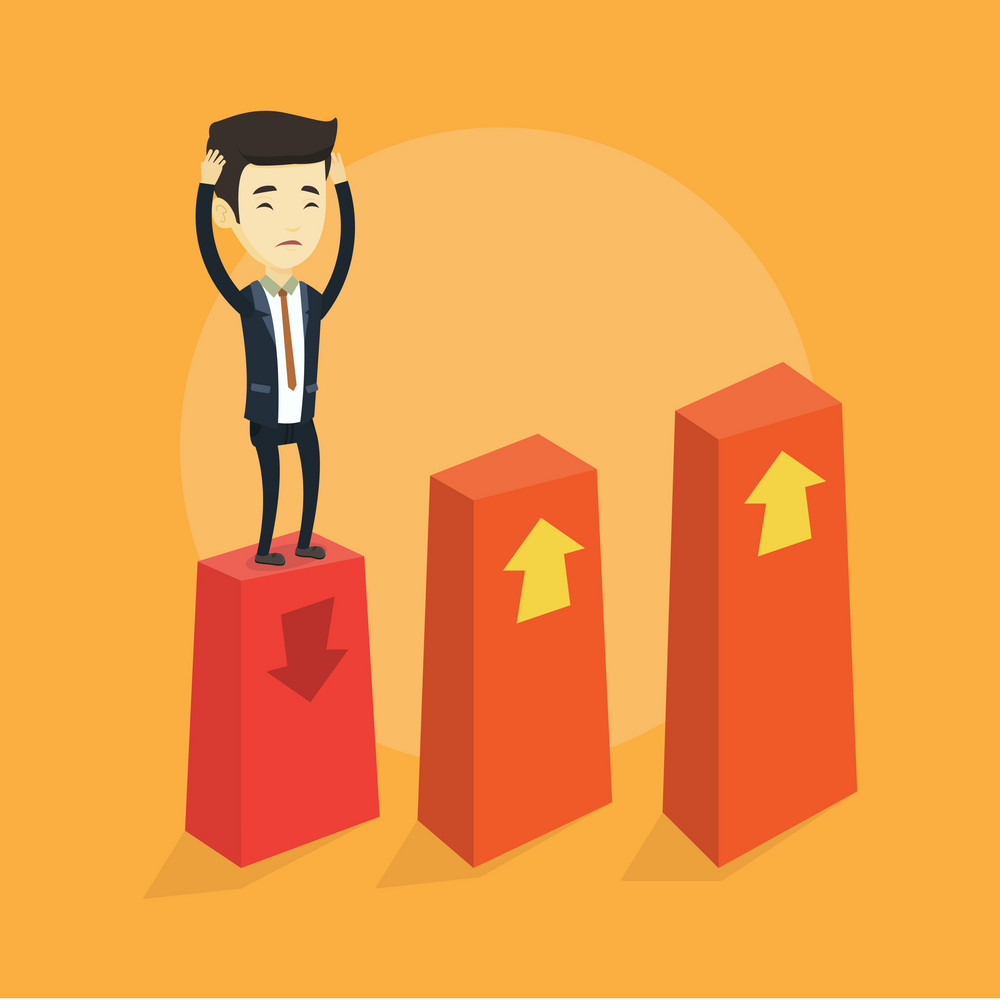 Asian frightened bankrupt business man clutching his head. Young bankrupt business man standing on chart going down. Concept of business bankruptcy. Vector flat design illustration. Square layout.