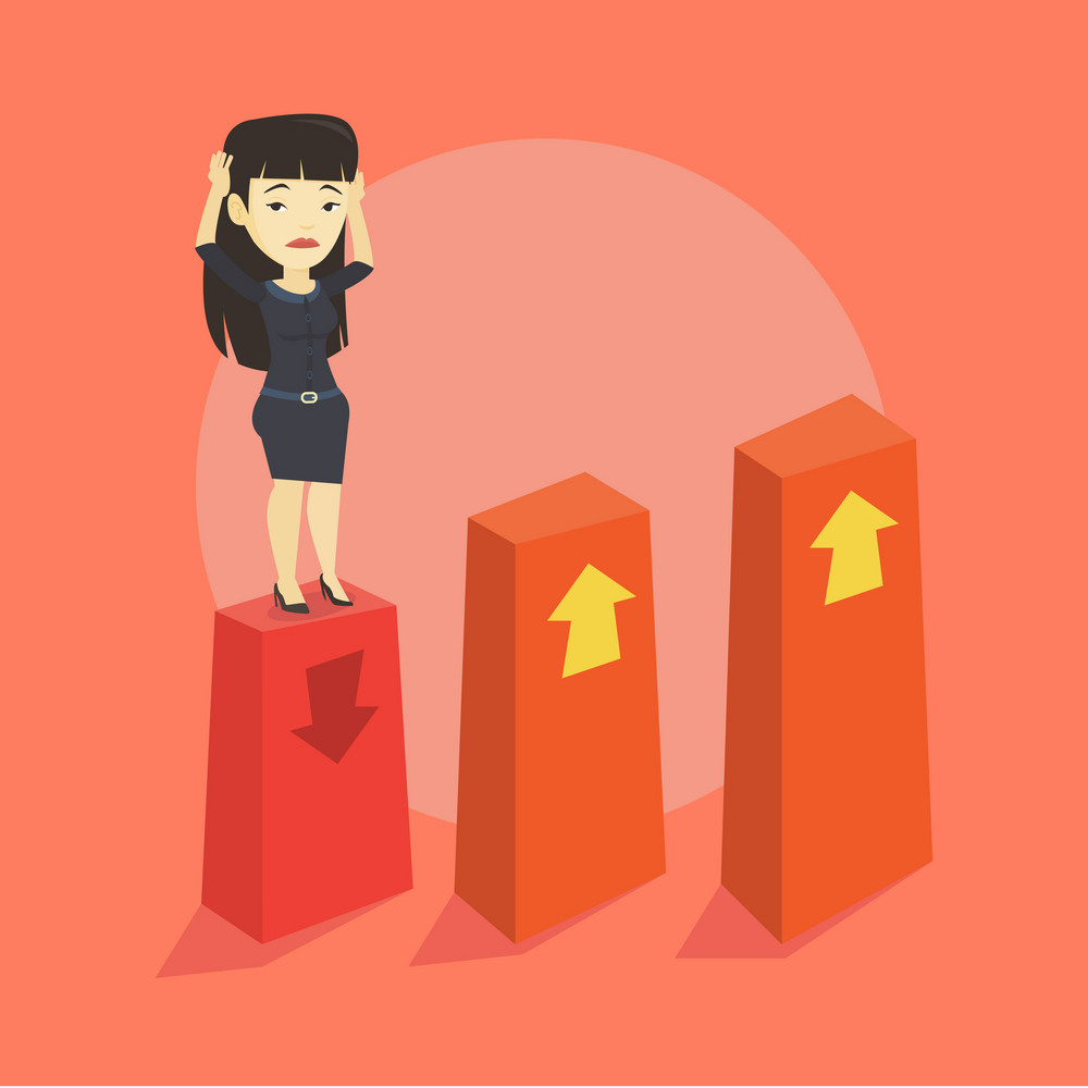 Asian frightened bankrupt business woman clutching her head. Young bankrupt business woman standing on chart going down. Concept of business bankruptcy. Vector flat design illustration. Square layout.