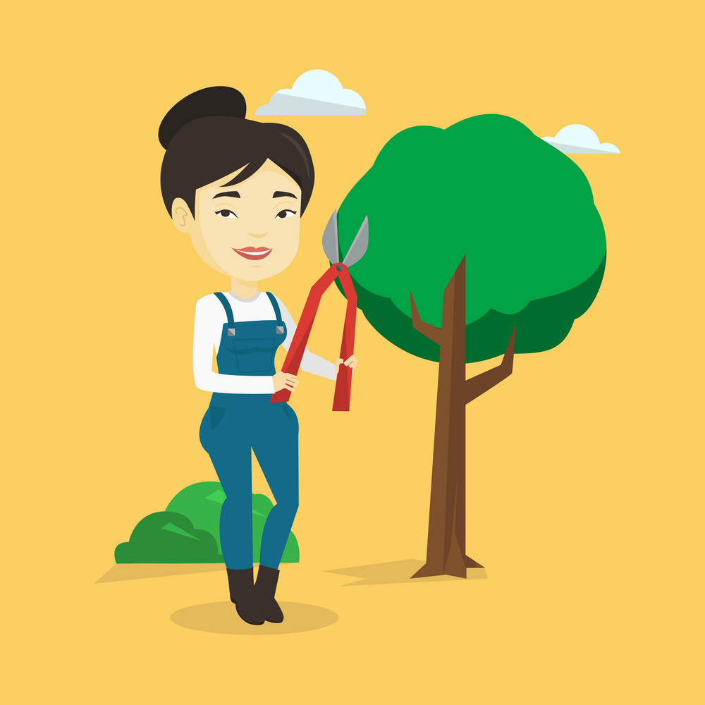 Asian gardener holding pruner. Female gardener is going to trim branches of a tree with pruner. Female gardener working in the garden with pruner. Vector flat design illustration. Square layout.