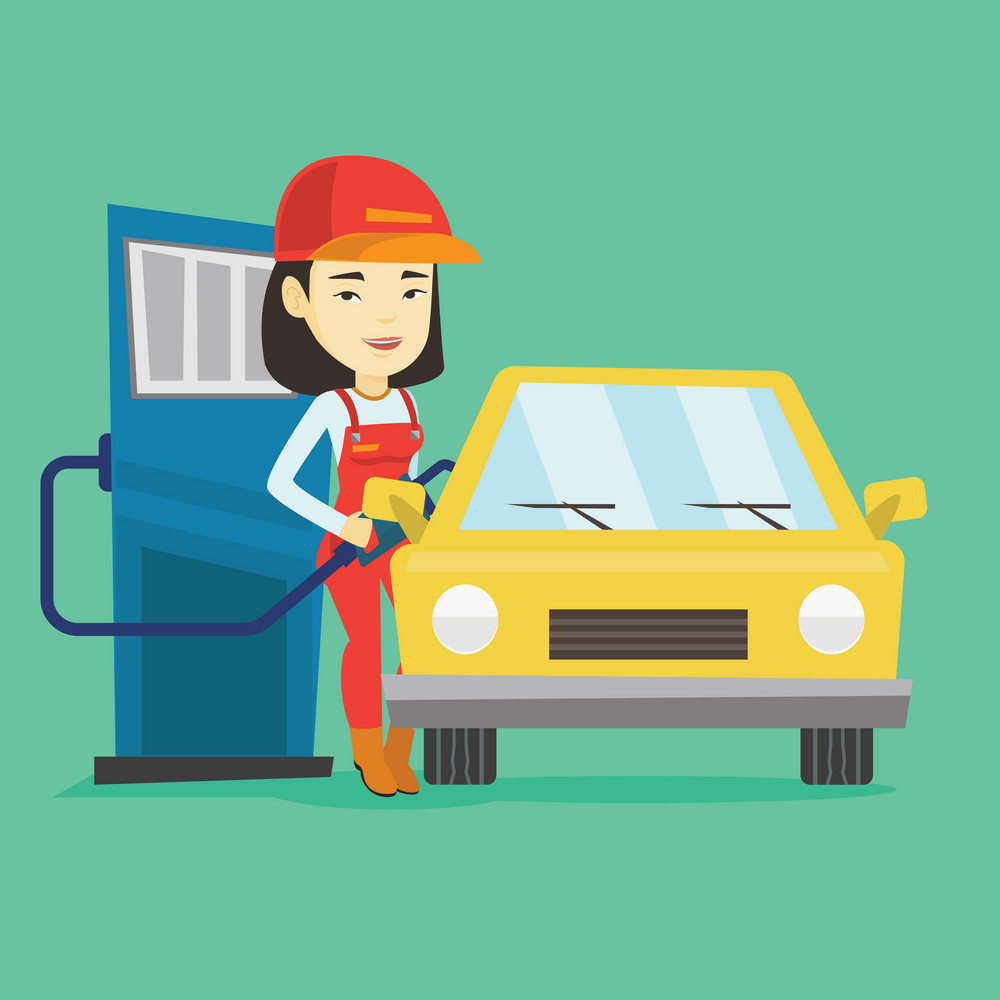 Asian gas station worker filling up fuel into the car. Smiling worker in workwear at the gas station. Young gas station worker refueling a car. Vector flat design illustration. Square layout.