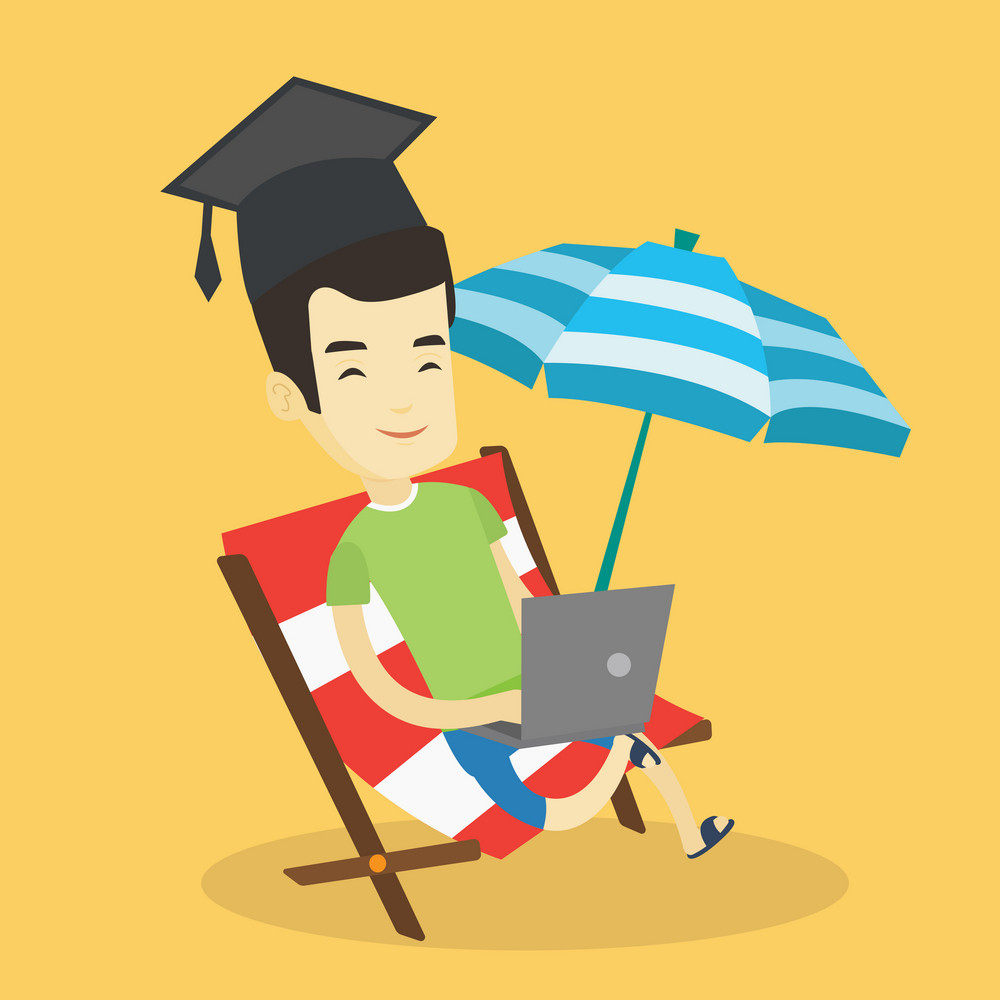 Asian graduate lying in chaise longue. Graduate in graduation cap working on laptop. Graduate studying on a beach. Concept of online education. Vector flat design illustration. Square layout.