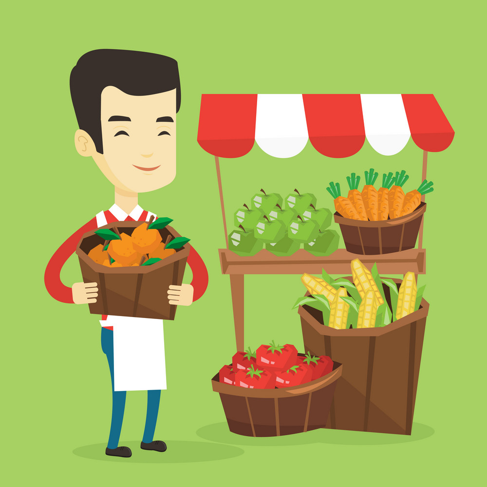 Asian greengrocer standing near stall with fruits and vegetables. Greengrocer standing near market stall. Greengrocer holding basket with fruits. Vector flat design illustration. Square layout.