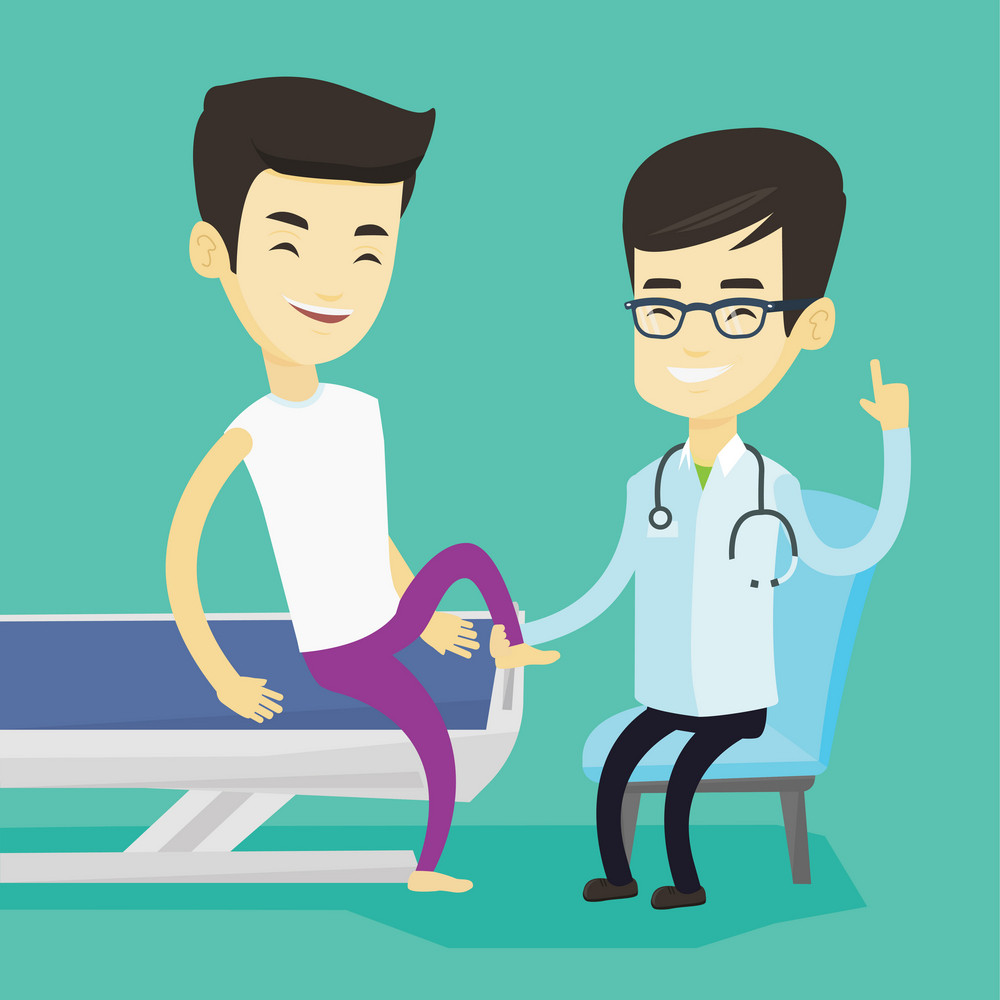 Asian gym doctor checking ankle of a patient. Physio therapist examining leg of young sports man. Physio therapist giving a leg massage to patient. Vector flat design illustration. Square layout.