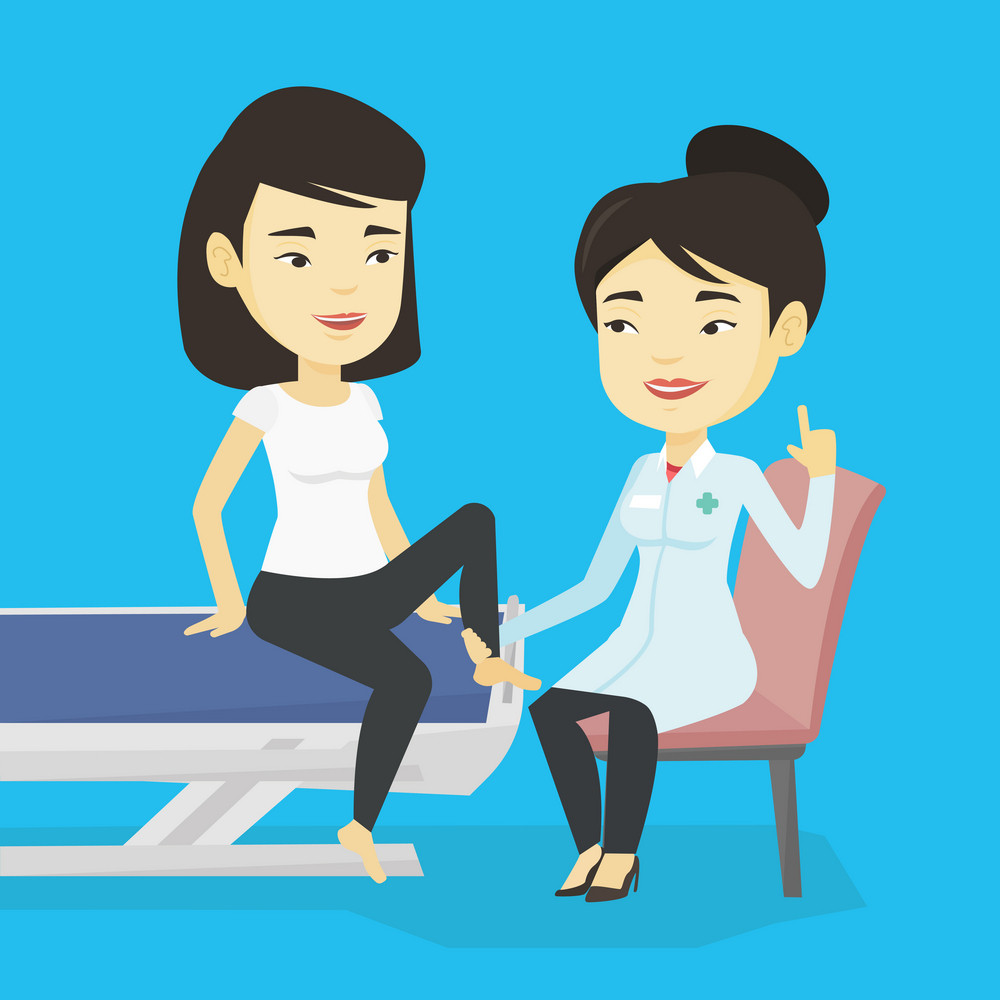 Asian gym doctor checking ankle of a patient. Physio therapist examining leg of young sports woman. Physio therapist giving a leg massage to patient. Vector flat design illustration. Square layout.