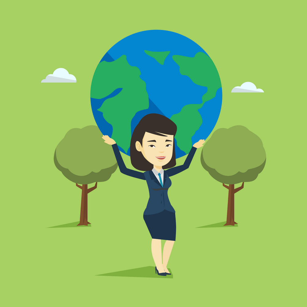 Asian happy business woman holding big Earth globe over her head. Young business woman taking part in global business. Concept of global business. Vector flat design illustration. Square layout.