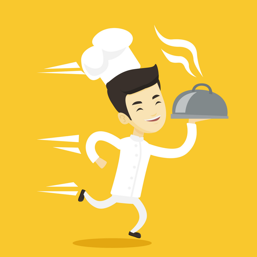 Asian happy male chef cook in a cap and white uniform running. Cheerful chef cook holding a cloche. Smiling chef cook fast running with a cloche. Vector flat design illustration. Square layout.