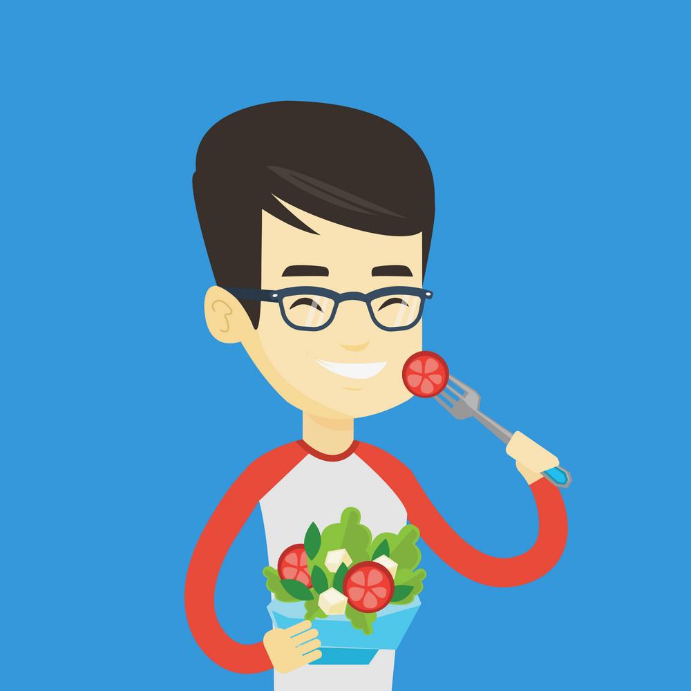 Asian happy man eating healthy vegetable salad. Young man enjoying fresh vegetable salad. Man holding fork and bowl with healthy vegetable salad. Vector flat design illustration. Square layout.