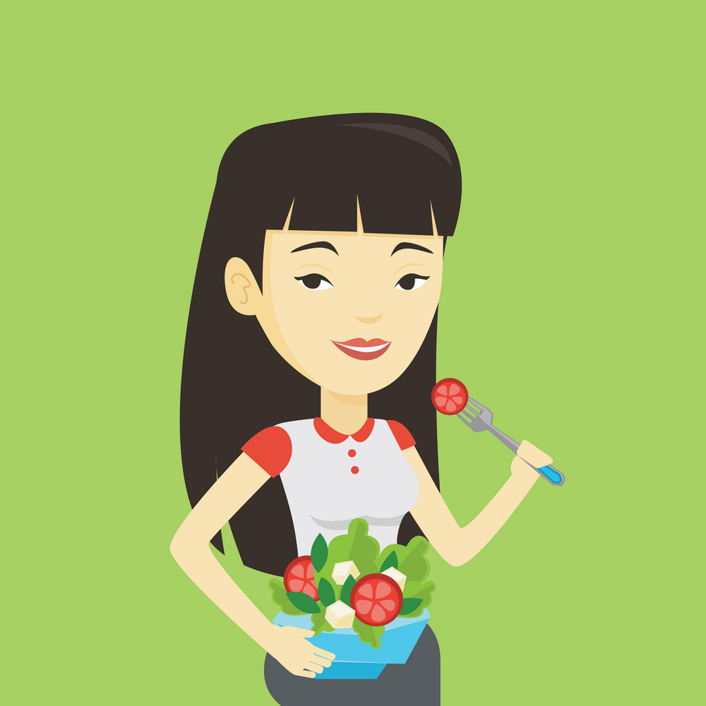 Asian happy woman eating healthy vegetable salad. Young woman enjoying fresh vegetable salad. Woman holding fork and bowl with healthy vegetable salad. Vector flat design illustration. Square layout.
