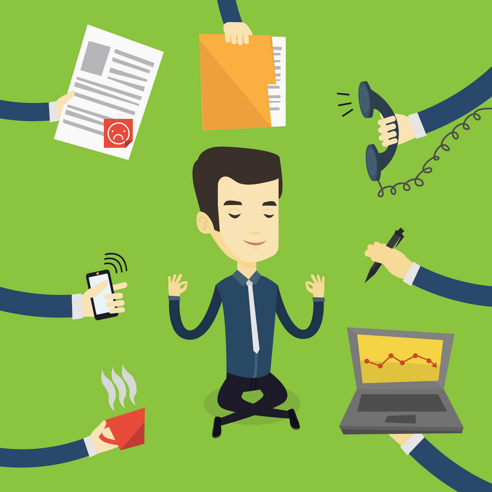 Asian hard working businessman meditating in lotus pose. Young businessman surrounded by many hands that give him a lot of work. Concept of hard working. Vector flat design illustration. Square layout