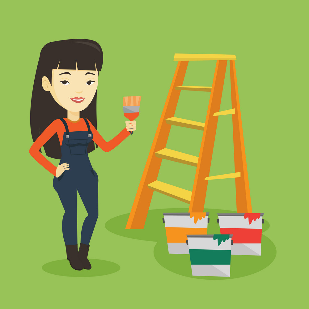 Asian house painter holding a paintbrush. House painter with paintbrush in hand standing near step-ladder and paint cans. Concept of house renovation. Vector flat design illustration. Square layout.