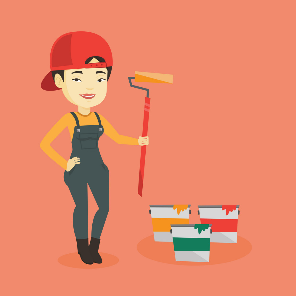 Asian house painter in uniform holding paint roller in hands. Young cheerful house painter at work. Smiling house painter standing near paint cans. Vector flat design illustration. Square layout.