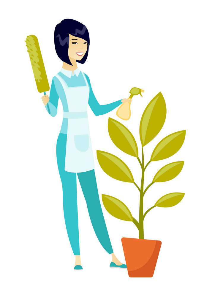 Asian housemaid in uniform watering the flower with spray. Full length of young housemaid with flower. Home cleaning service concept. Vector flat design illustration isolated on white background.