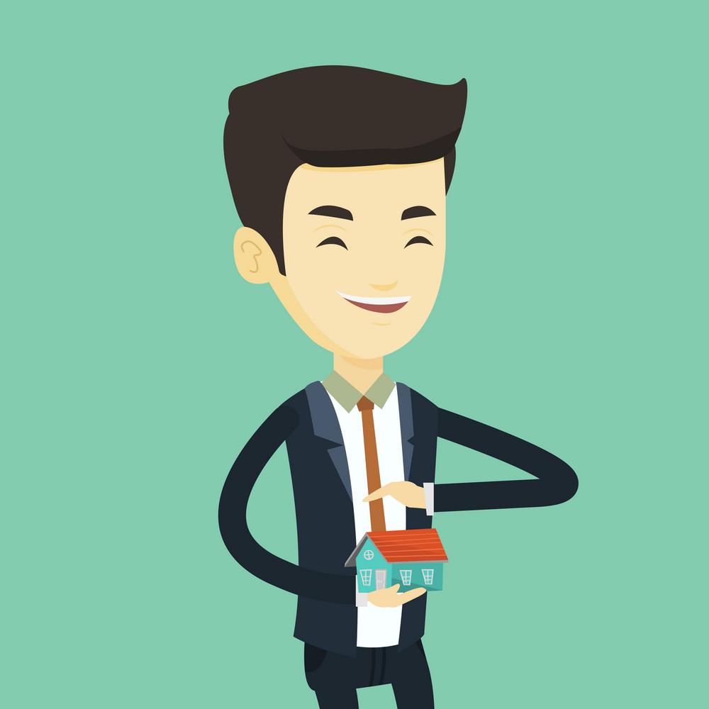 Asian insurance agent holding house model. Insurance agent protecting model of the house. Young happy man insuring house. Property insurance concept. Vector flat design illustration. Square layout.