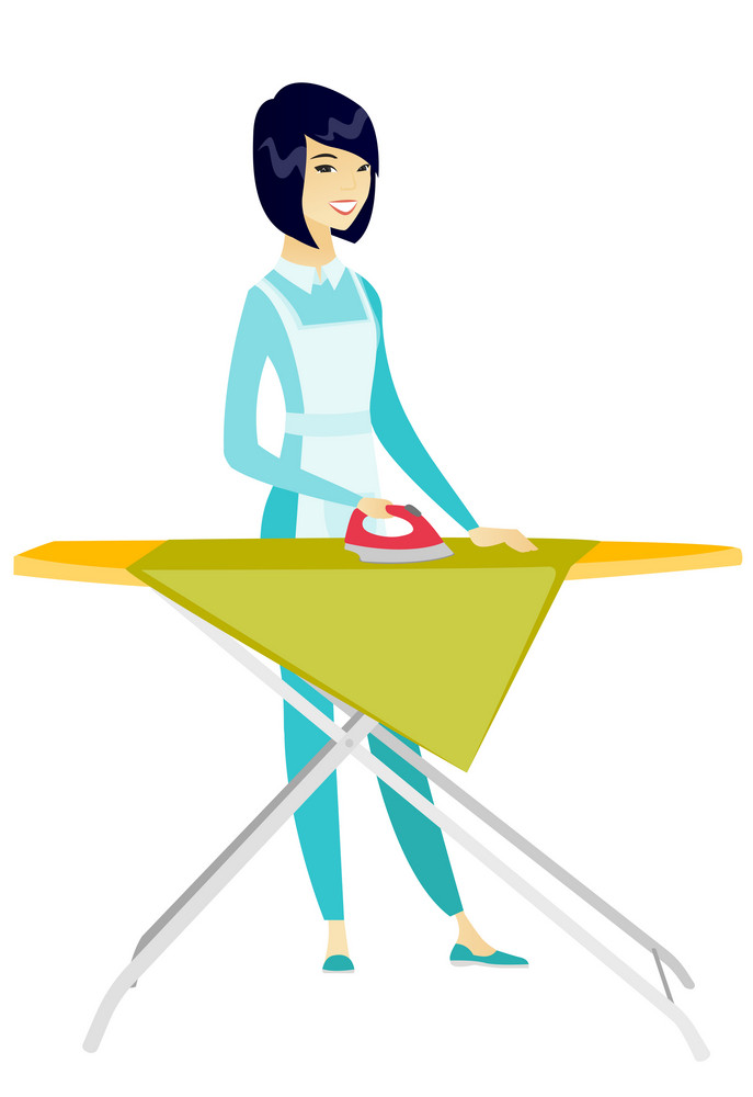 Asian maid ironing clothes using iron on ironing board after laundry. Full length of young hotel maid ironing clothes on ironing board. Vector flat design illustration isolated on white background.