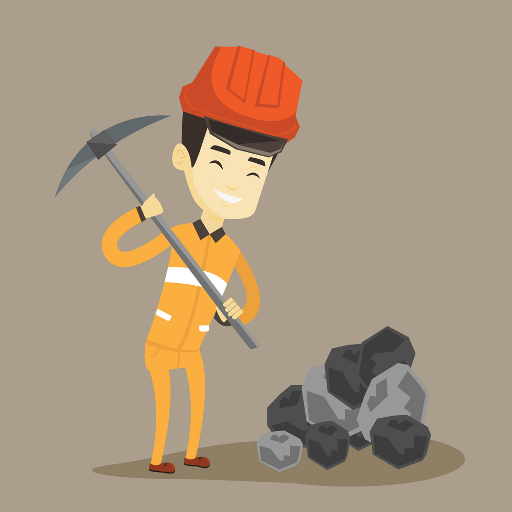 Asian male miner in hard hat working with a pickaxe. Male miner in helmet and workwear working at the coal mine. Young male miner at work. Vector flat design illustration. Square layout.