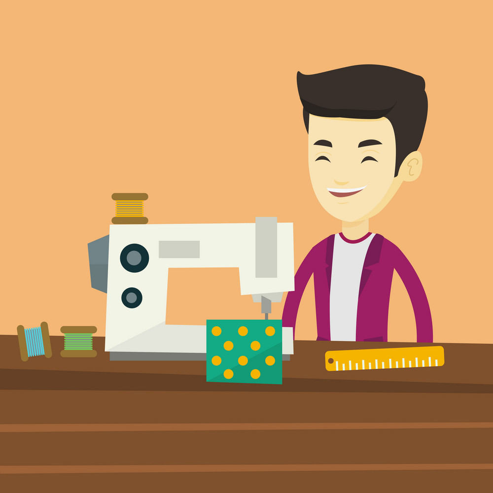 Asian male seamstress working in a cloth factory. Male seamstress sewing on an industrial sewing machine. Seamstress using sewing machine at workshop. Vector flat design illustration. Square layout.