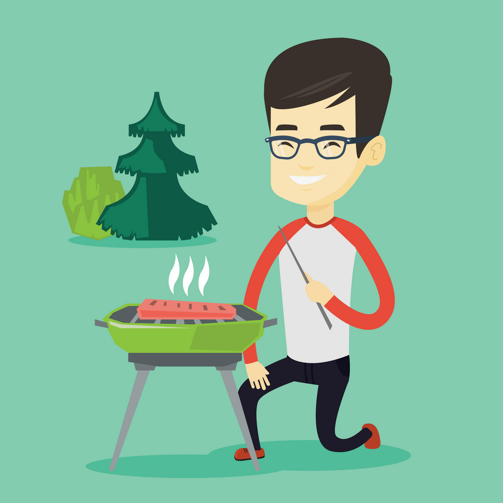 Asian man cooking steak on barbecue grill outdoors. Young man sitting next to barbecue grill in the park. Smiling man having a barbecue party. Vector flat design illustration. Square layout.