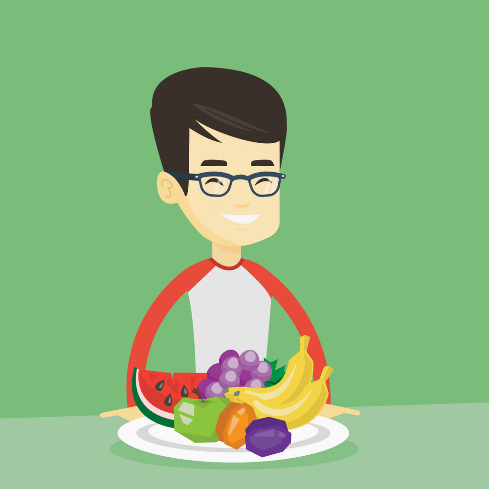 Asian man eating fresh healthy fruits. Young friendly man standing in front of table woth fresh fruits. Smiling man with plate full of fruits. Vector flat design illustration. Square layout.