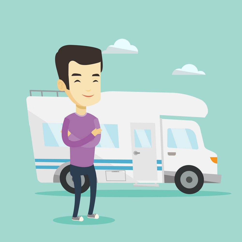 Asian man enjoying his vacation in motor home. Young man standing with arms crossed in front of motor home. Smiling man traveling by motor home. Vector flat design illustration. Square layout.