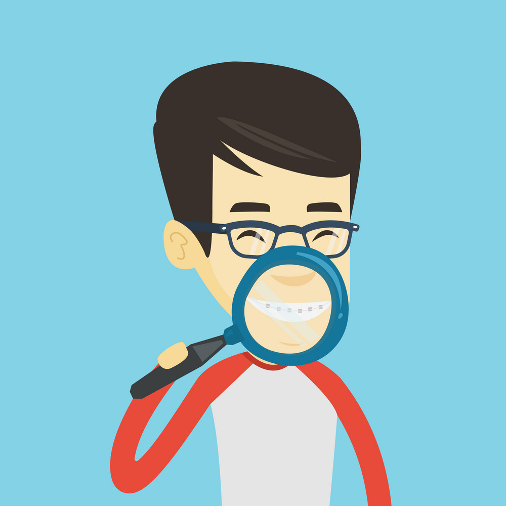 Asian man examining his teeth with magnifier. Smiling young man holding magnifying glass in front of his teeth. Teeth examining and health care concept. Vector flat design illustration. Square layout.