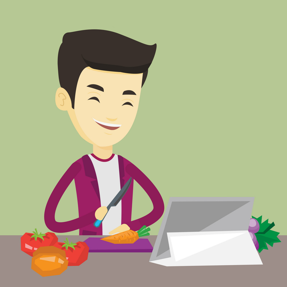 Asian man following recipe for vegetable salad on digital tablet. Young man cutting vegetables for salad. Man cooking healthy vegetable salad. Vector flat design illustration. Square layout.