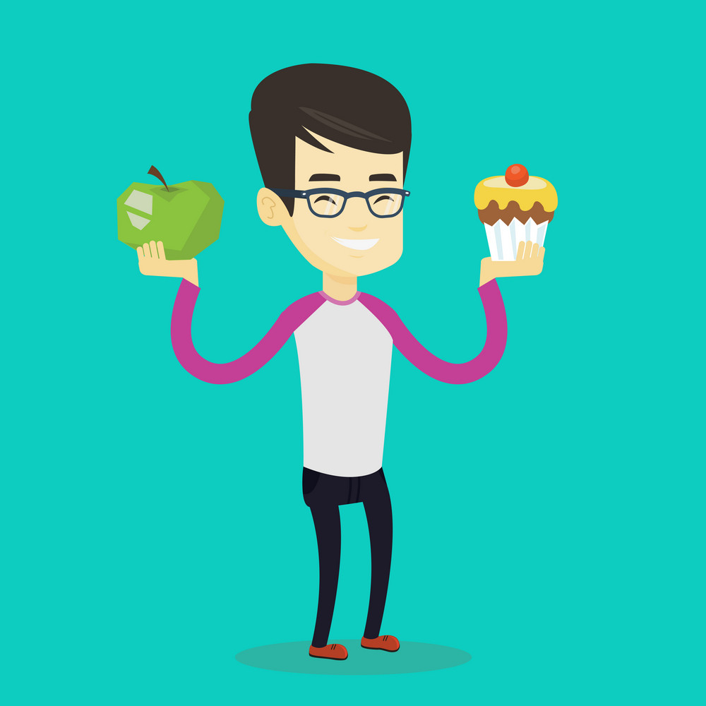 Asian man holding apple and cupcake in hands. Man choosing between apple and cupcake. Concept of choice between healthy and unhealthy nutrition. Vector flat design illustration. Square layout