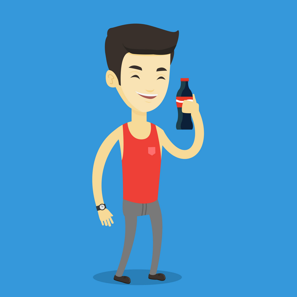 Asian man holding fresh soda beverage in glass bottle. Young man standing with bottle of soda. Cheerful man drinking brown soda from bottle. Vector flat design illustration. Square layout.