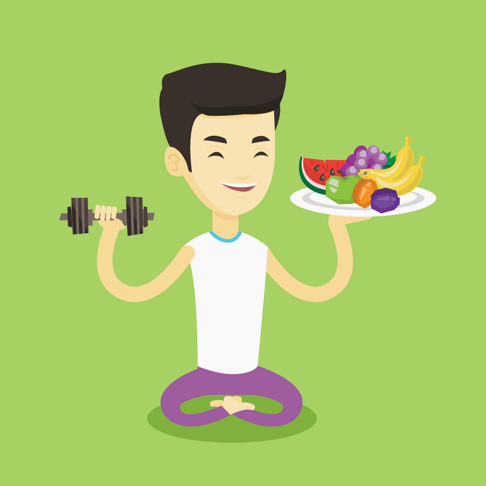 Asian man holding healthy fruits and dumbbell. Sportsman with healthy fruits and dumbbell. Man choosing healthy lifestyle. Healthy lifestyle concept. Vector flat design illustration. Square layout.