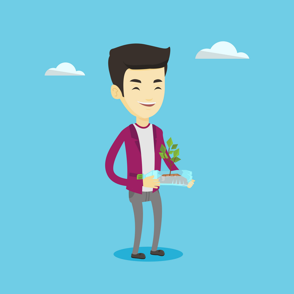 Asian man holding in hands plastic bottle with plant growing inside. Man holding plastic bottle used as plant pot. Concept of plastic recycling. Vector flat design illustration. Square layout.