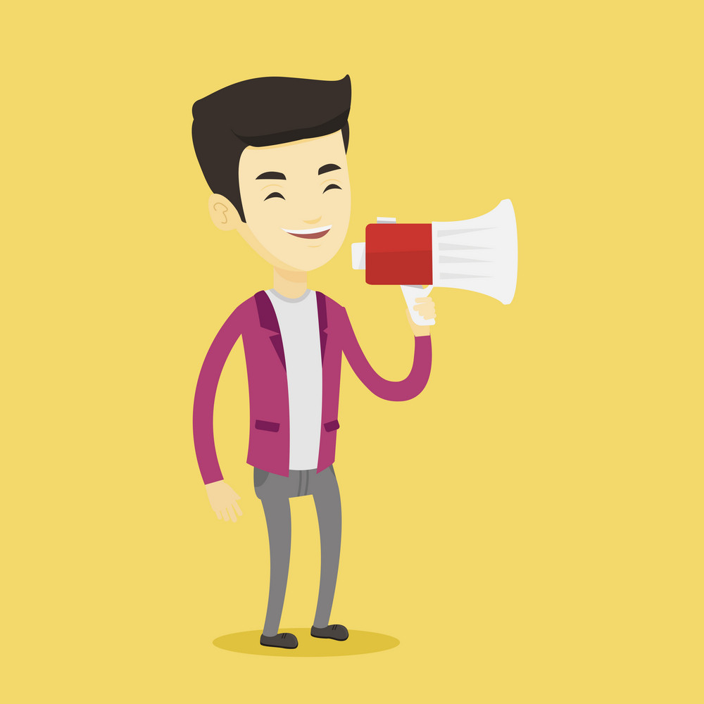Asian man holding megaphone. Man promoter speaking into a megaphone. Young man advertising using megaphone. Social media marketing concept. Vector flat design illustration. Square layout.
