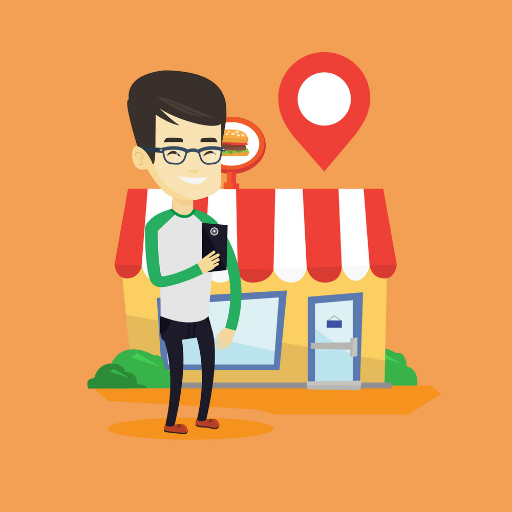Asian man holding smartphone with mobile application for looking for a restaurant. Young man using smartphone application for searching of restaurant. Vector flat design illustration. Square layout.