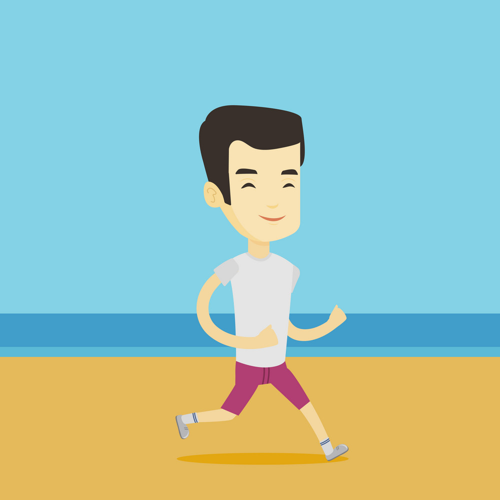 Asian man jogging on the beach. Sporty male athlete running on the beach. Young man running along the seashore. Fit man enjoying jogging on beach. Vector flat design illustration. Square layout.