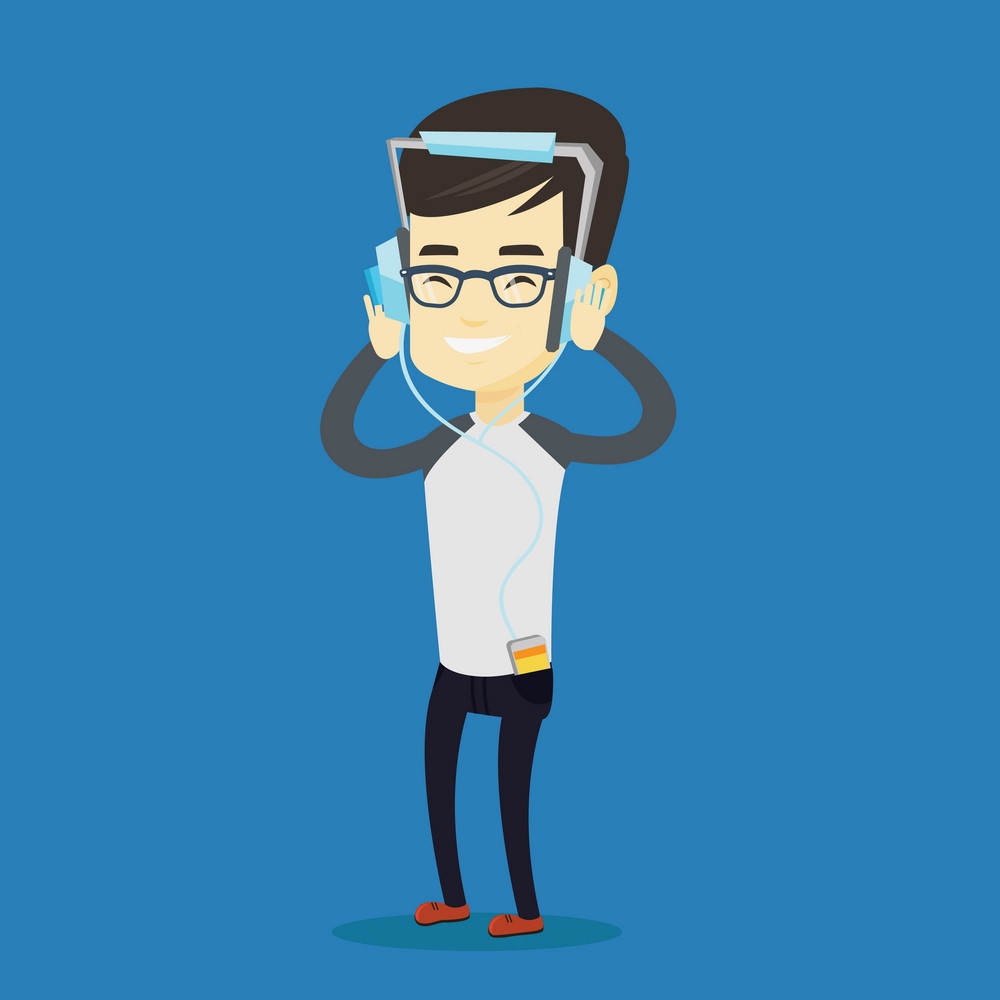 Asian man listening to music on his smartphone. Young man in headphones listening to music. Relaxed man with his eyes closed enjoying music. Vector flat design illustration. Square layout.