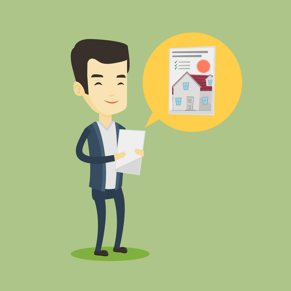 Asian man looking at photo of a house on a tablet computer. Man seeking for appropriate house on a tablet computer. Man holding home purchase contract. Vector flat design illustration. Square layout.
