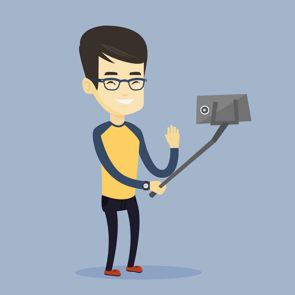 Asian man making selfie with a selfie-stick. Smiling man taking photo with cellphone. Young man taking selfie and waving his hand. Vector flat design illustration. Square layout.