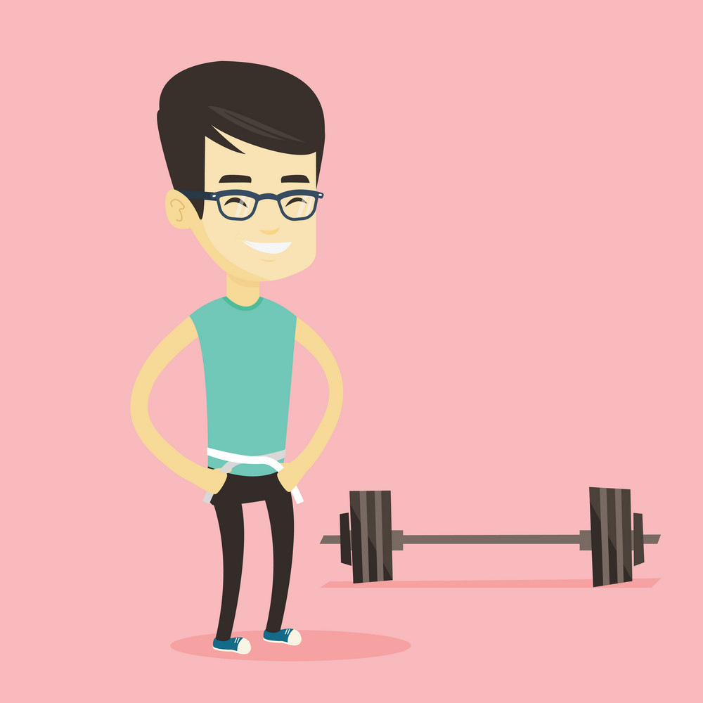 Asian man measuring waistline with a tape. Man measuring with tape the waistline. Happy man with centimeter on a waistline standing near a barbell. Vector flat design illustration. Square layout.