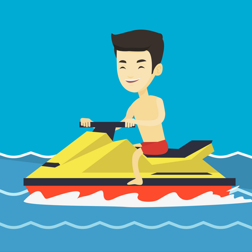Asian man on jet ski in the sea at summer sunny day. Young man on a water scooter. Man riding on a water scooter. Excited man training on a jet ski. Vector flat design illustration. Square layout.