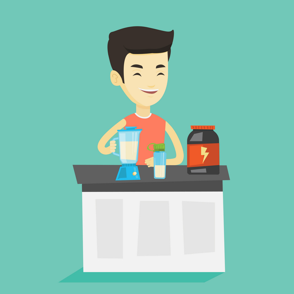 Asian man preparing protein cocktail of bodybuilding food supplements. Sportsman making protein shake using blender. Young man cooking protein cocktail. Vector flat design illustration. Square layout.