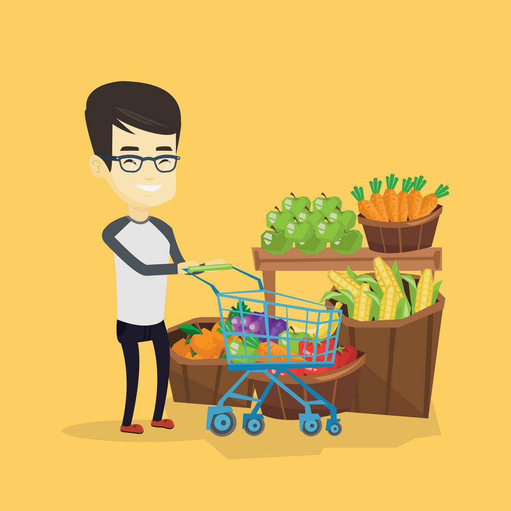 Asian man pushing supermarket cart with some healthy products in it. Man shopping at supermarket with cart. Man buying healthy products in supermarket. Vector flat design illustration. Square layout.