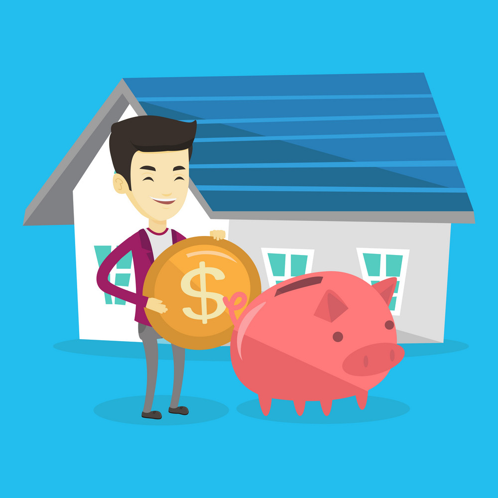 Asian man putting dollar coin in piggy bank. Cheerful man standing on the background of house. Concept of saving and investing money in real estate. Vector flat design illustration. Square layout.