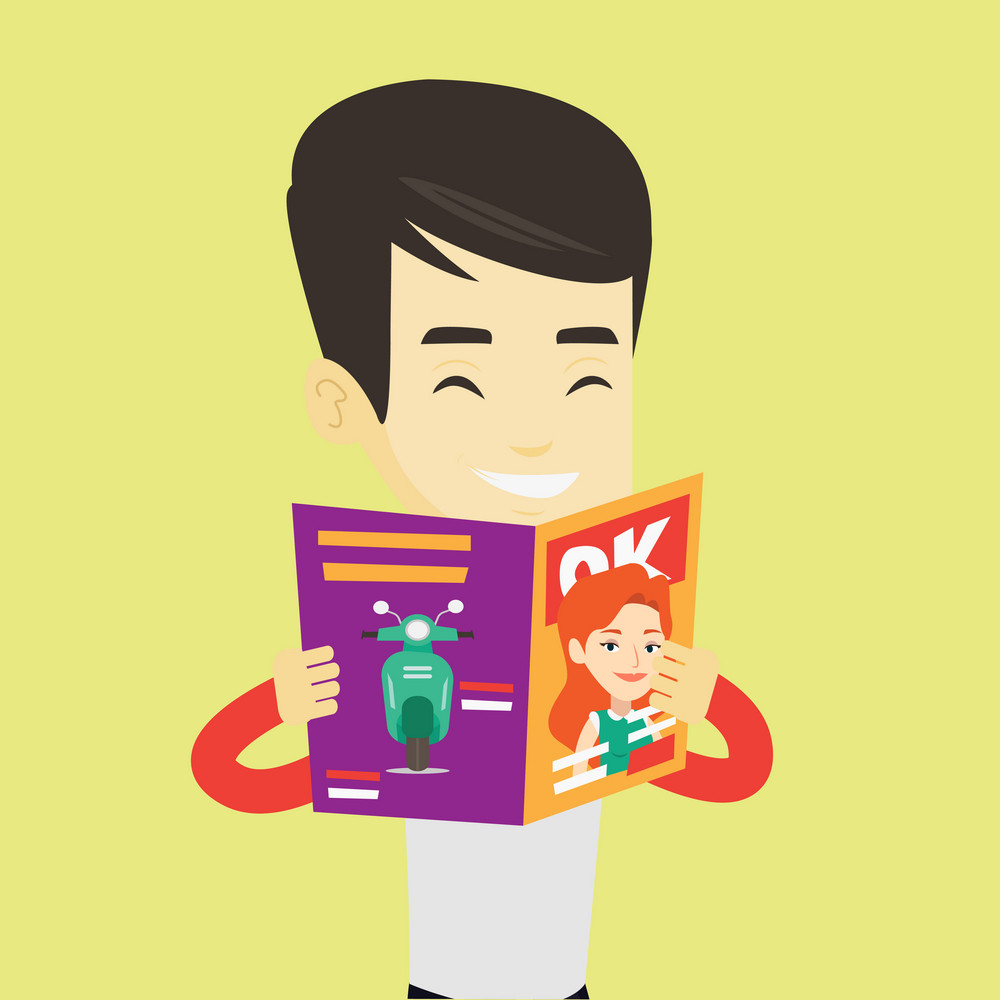 Asian man reading a magazine. Young man standing with magazine in hands. Man holding a magazine. Happy guy reading good news in a magazine. Vector flat design illustration. Square layout.