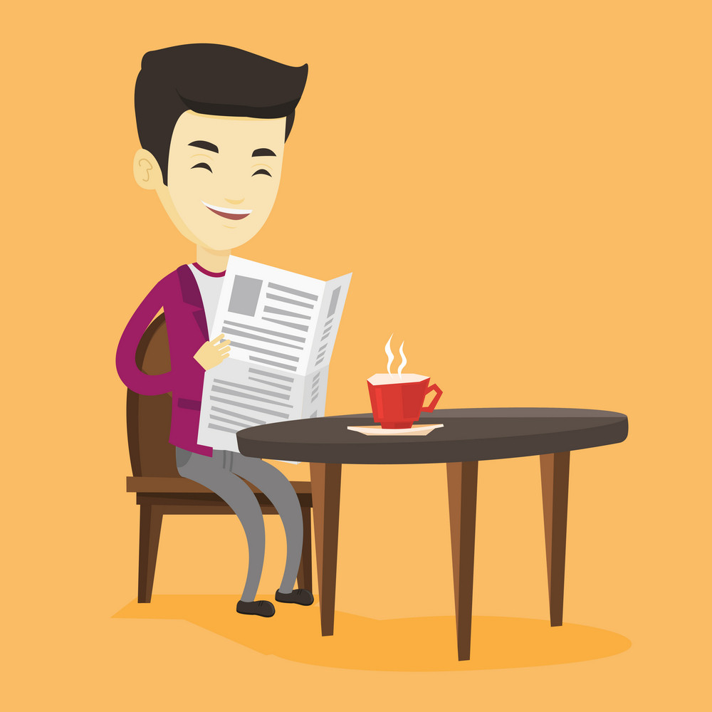 Asian man reading newspaper in a cafe. Young man reading the news in newspaper. Man sitting with newspaper in hands and drinking coffee. Vector flat design illustration. Square layout.