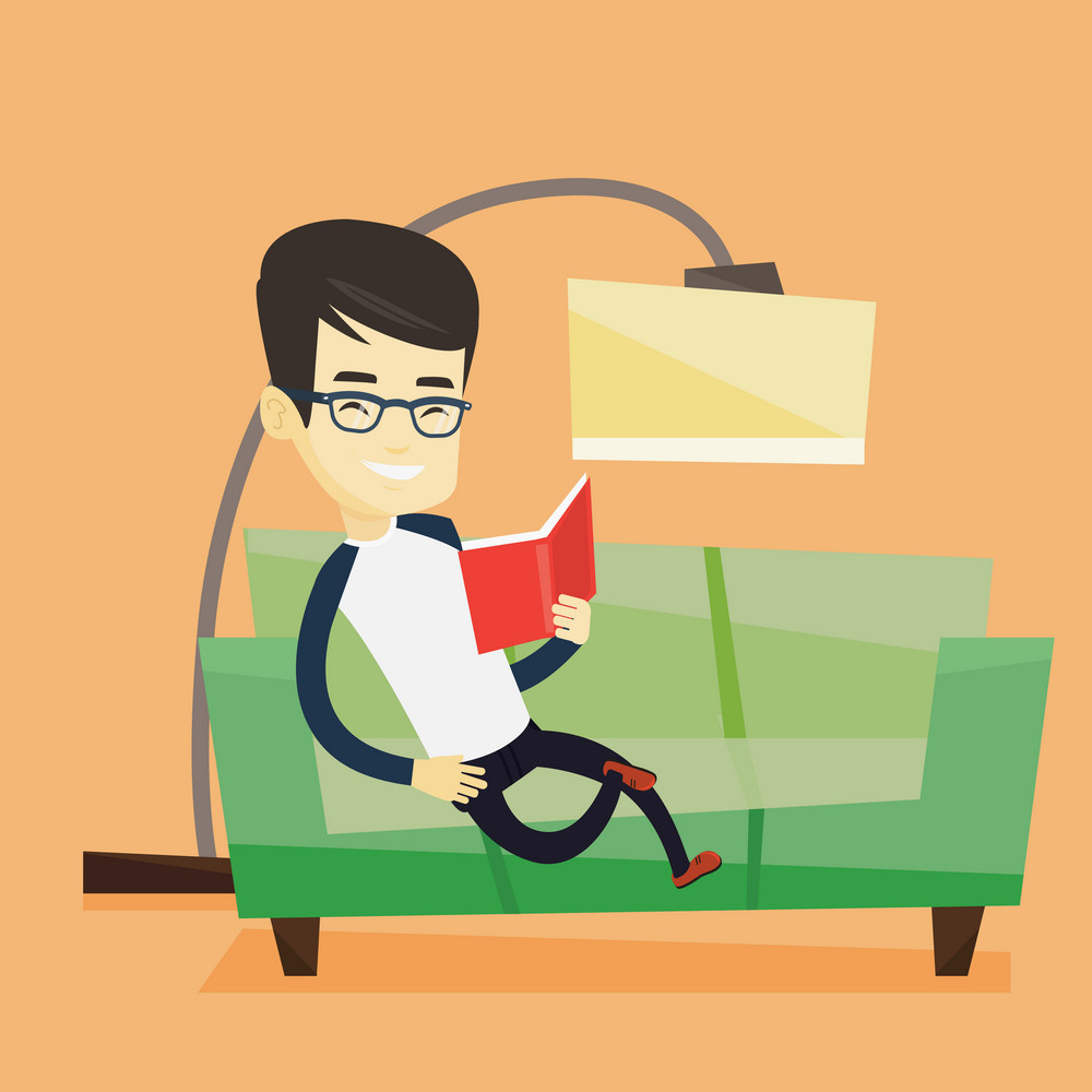 Asian man relaxing with a book on the couch at home. Smiling man reading a book on a sofa. Happy young man sitting on a sofa and reading a book. Vector flat design illustration. Square layout.