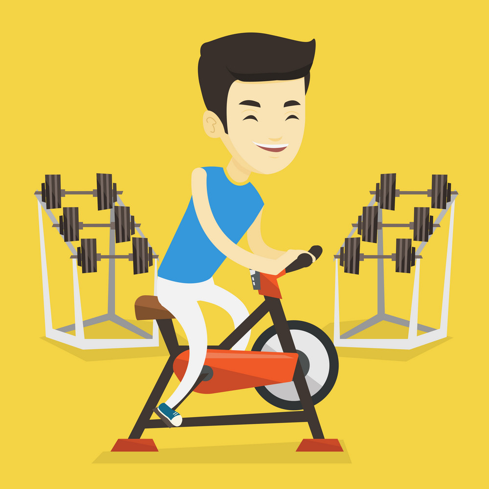 Asian man riding stationary bicycle in the gym. Sporty man exercising on stationary training bicycle. Young smiling man training on exercise bicycle. Vector flat design illustration. Square layout.