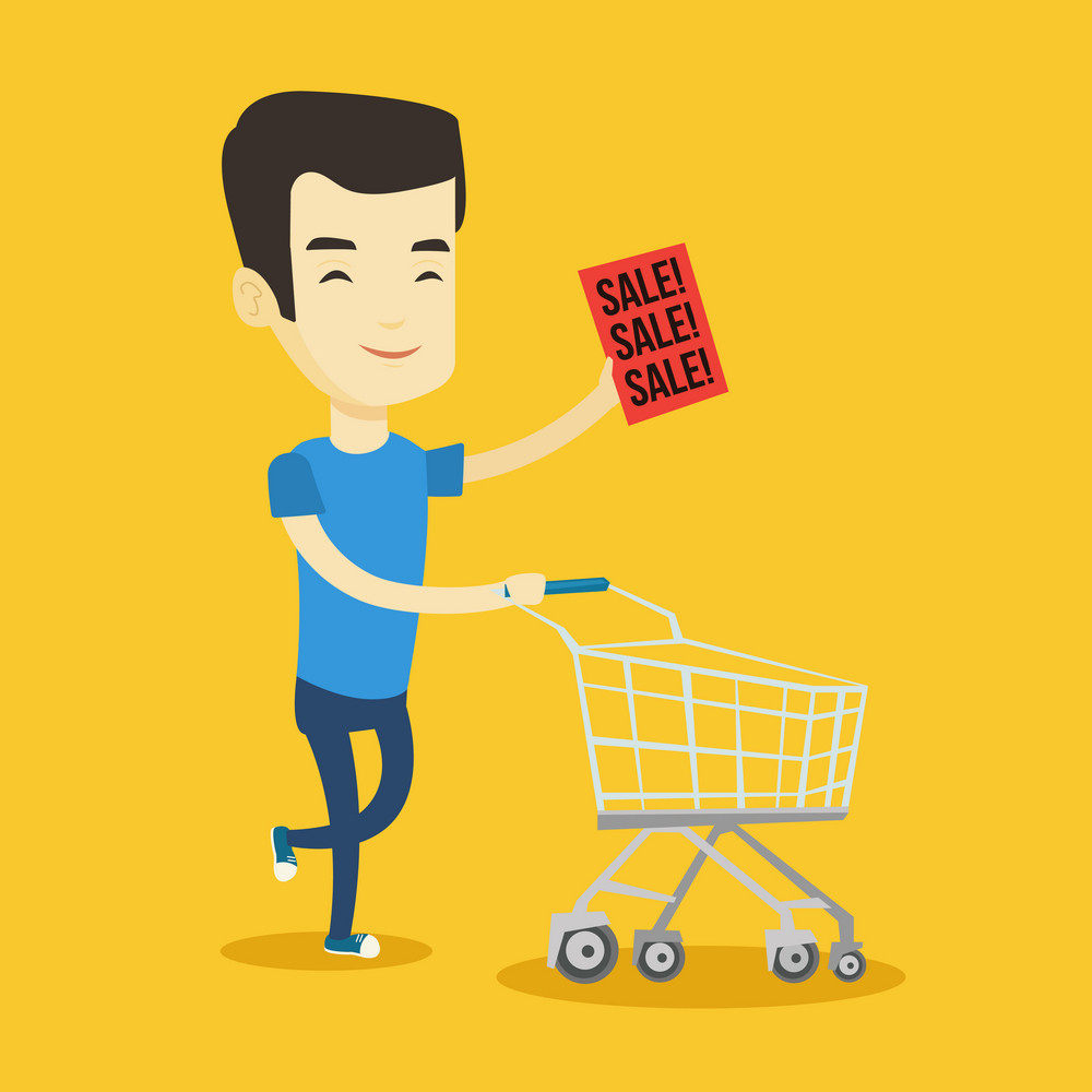 Asian man running on big sale. Young man holding paper sheet with sale text. Man with empty shopping trolley running in a hurry to the store on sale. Vector flat design illustration. Square layout.